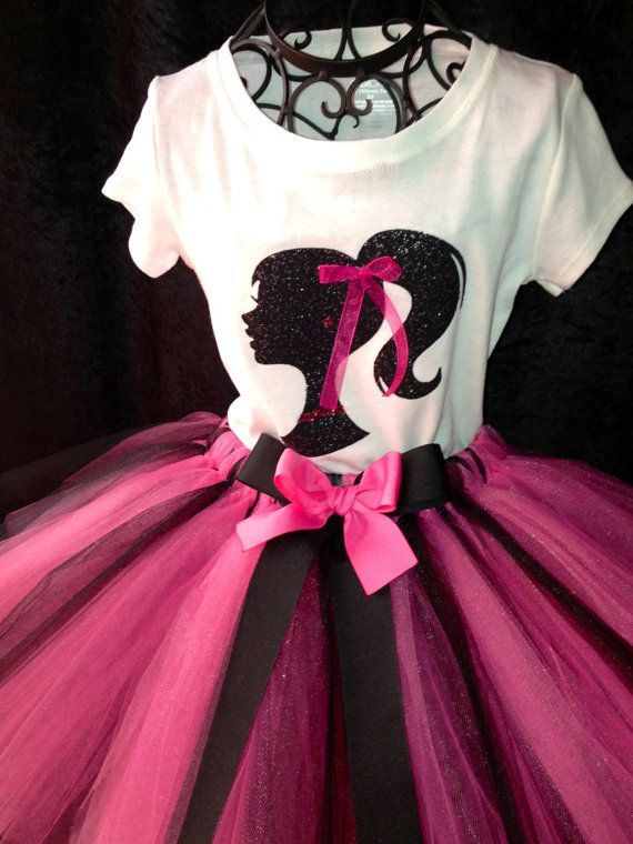 Barbie Tutu Set Pink Black White Sparkle by TheFancyButterfly