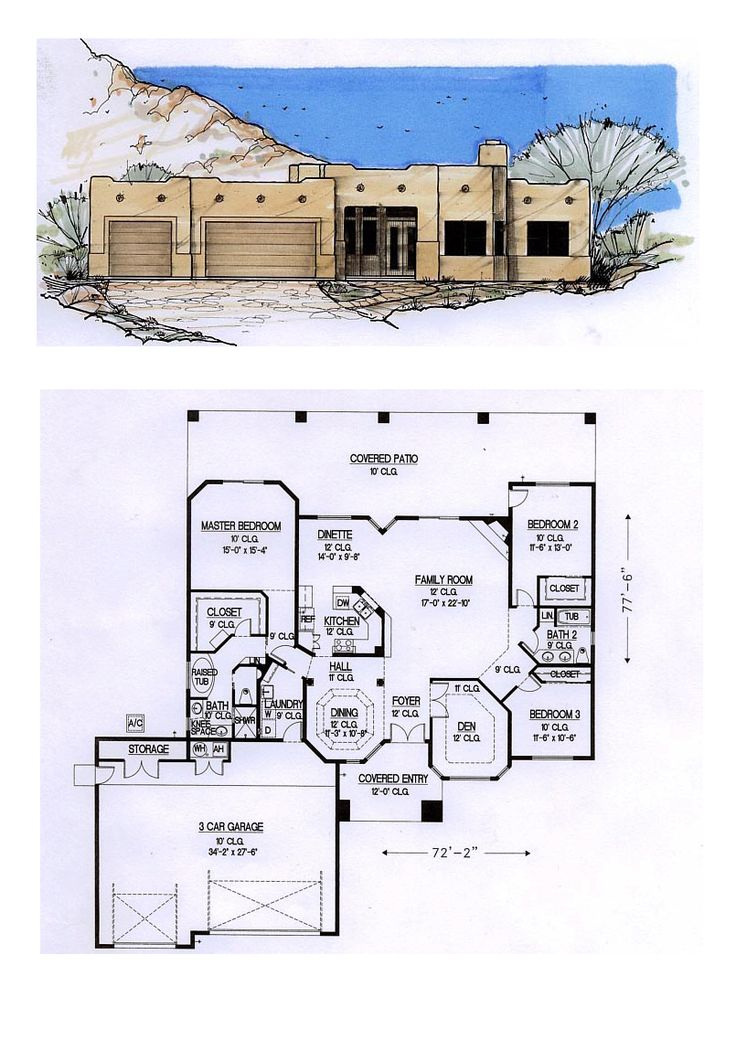 49 best Santa Fe House Plans images on Pinterest | Car garage ...
