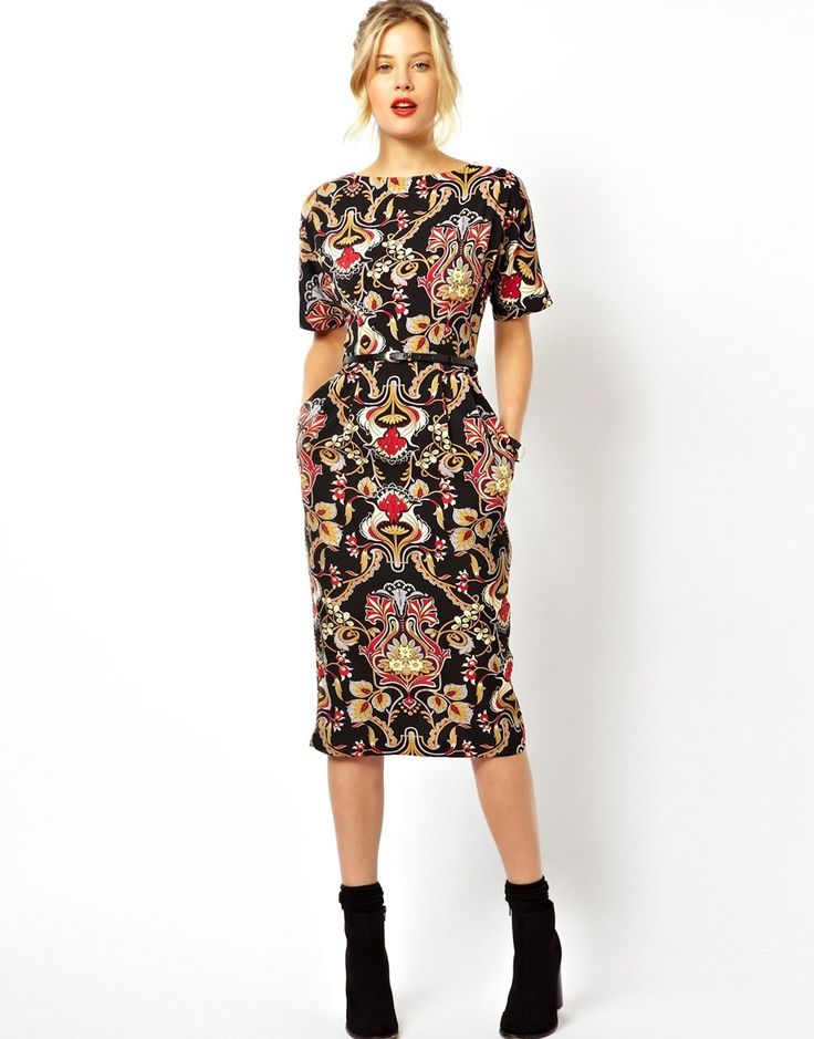 ASOS | ASOS Wiggle Dress In Baroque Print at ASOS