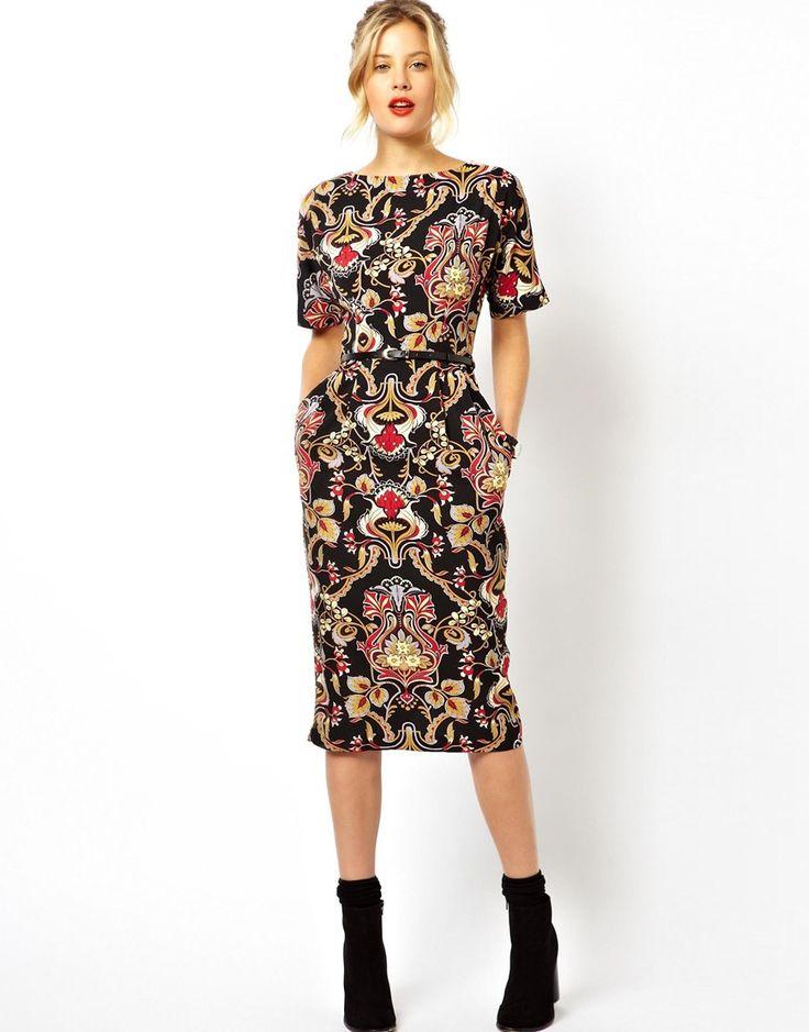 ASOS Wiggle Dress In Baroque Print
