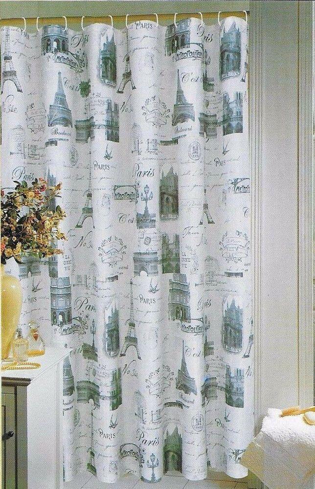 Details About Luxurious Paris Eiffel Tower Fabric Shower Curtain