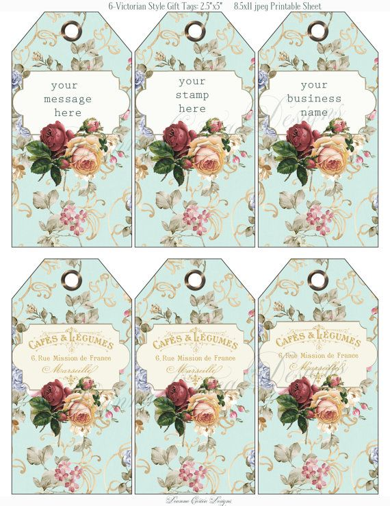 Victorian floral printable Tags 2.5x5 shabby chic by DeannaCartea