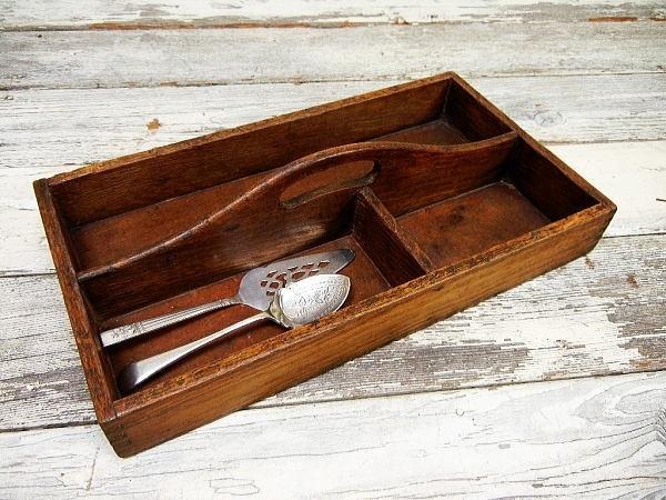 英国アンティーク木製カトラリートレイ道具箱 インテリア 雑貨 家具 Antique cutlery ¥6000yen 〆05月12日