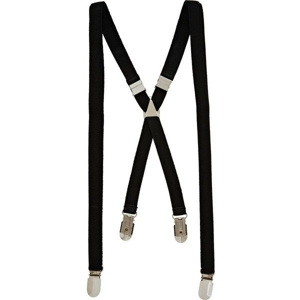 River Island Black braces ($12) ❤ liked on Polyvore featuring men's fashion, men's accessories, suspenders, accessories, belts and braces