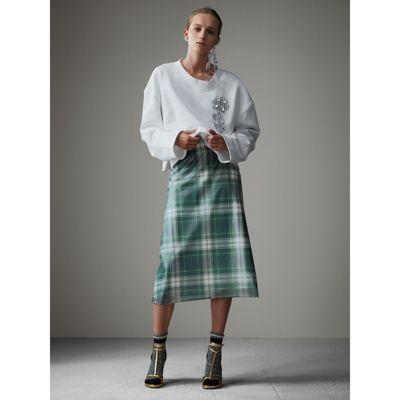 Falda acampanada en plástico con motivo de cuadros escoceses y forro en seda (Verde) - Mujer | Burberry