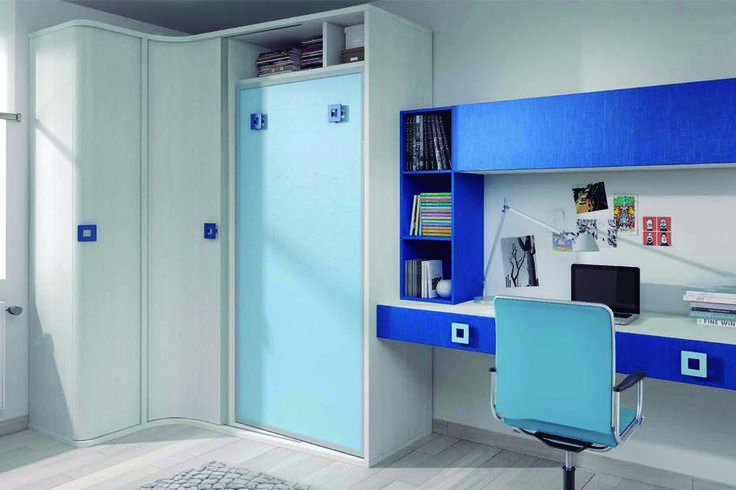 Aparador Mdf ~ Cama abatible vertical con armario de rincón, solo para colchón 90×190 cm Mide 204 cm de ancho