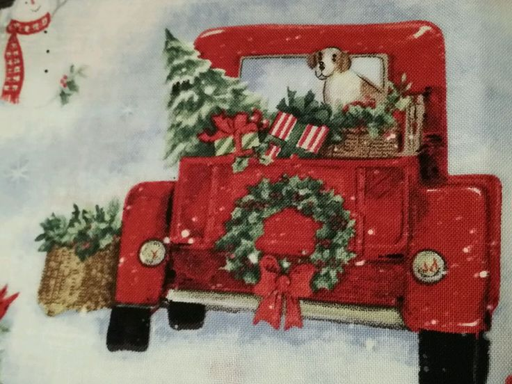 Susan Winget Vtg Red Pickup Truck Off To Grandmas House