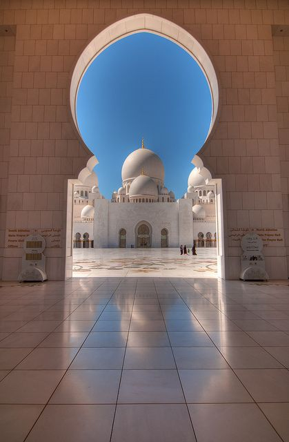 Reflection of Sheik Zayed Grand Mosque, Abu Dhabi, United Arab Emirates