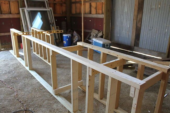 rustic outdoor summer kitchen, concrete masonry, concrete countertops, outdoor living, patio, woodworking projects, We started by making the frame from 2 x 4 s using treated lumber for the bottom