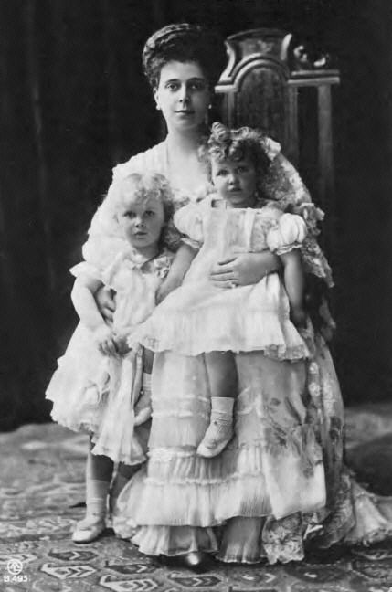 Princess Elena Vladimirovna of Greece and Denmark, nee Grand Duchess of Russia, with her two eldest daughters, Olga and Elizabeth.