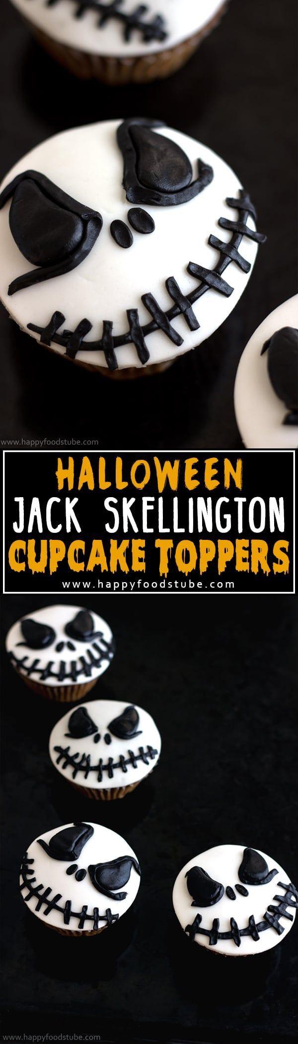 How to make Halloween Jack Skellington Cupcake Toppers. Easy cake/cupcake decorating video tutorial via @happyfoodstube