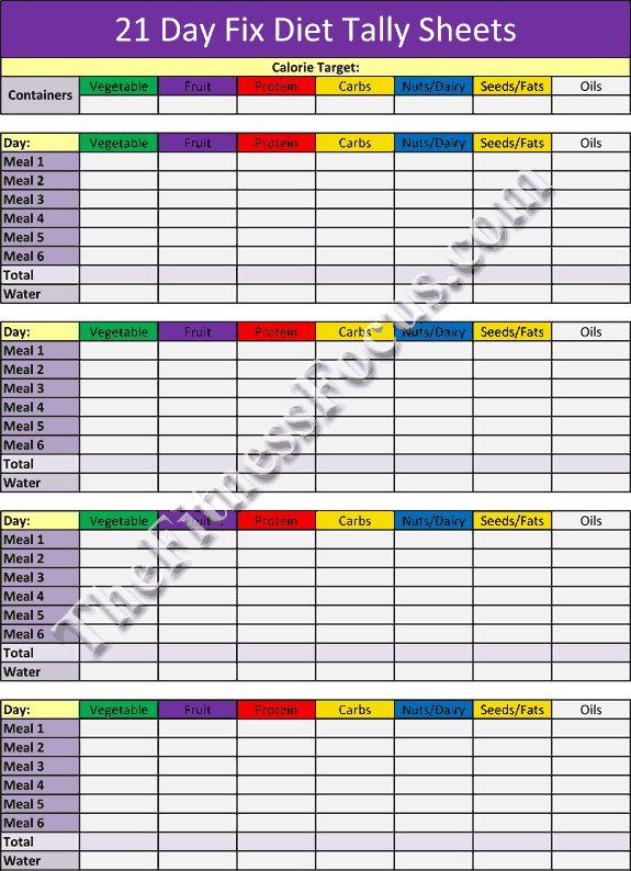 Superb image regarding 21 day fix tally sheets printable