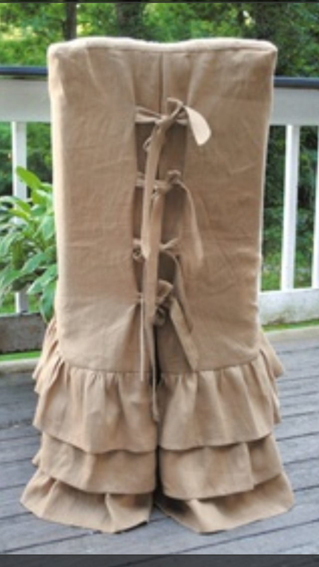 Burlap Parson Chair Cover Slipcovers Ruffle Skirts Ties Back Details Dining ChairsDining RoomsSlipcoversDress