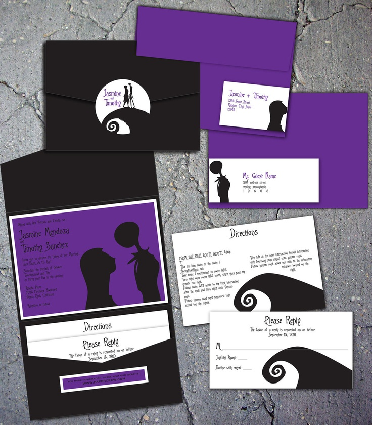 Jack and Sally Wedding Invitations.