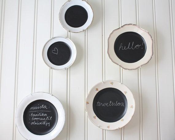 chalkboard, upcycled vintage porcelain plate