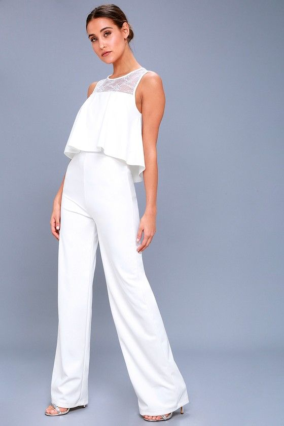 c671dc065673 Reach new levels of glam in the Hollywood Heights White Lace Jumpsuit!  Chic