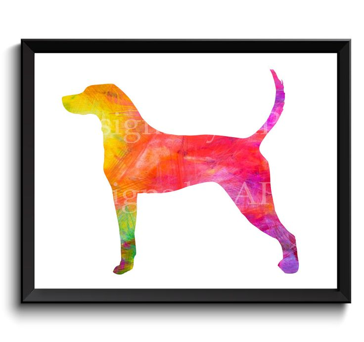 English Coonhound art, American English, Coonhound artwork, redtick coonhound, coonhound art print, printable coonhound - SKU1004 by WatercolorArtHut on Etsy