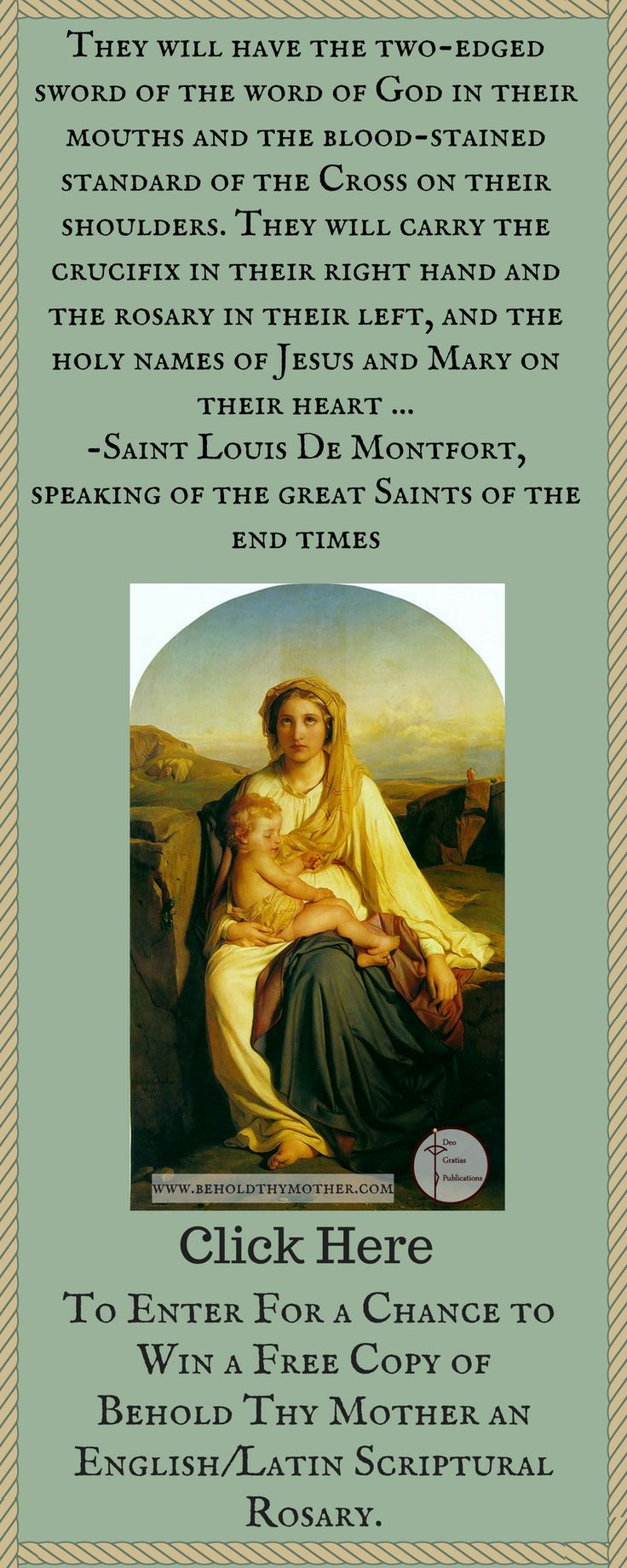"Enter for a chance to win a free copy of the Scriptural Rosary book ""Behold Thy Mother."""