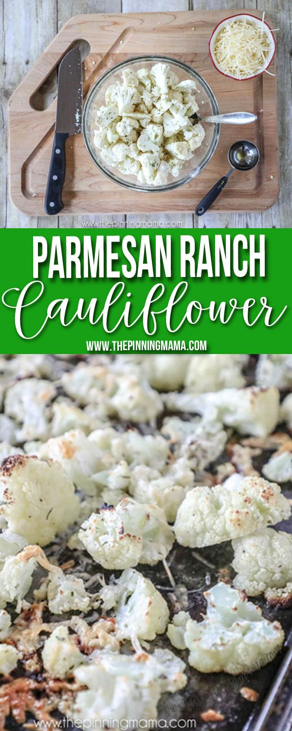 Easy Oven Roasted Parmesan Ranch Cauliflower is a simple side dish that is low carb, and quick to make!