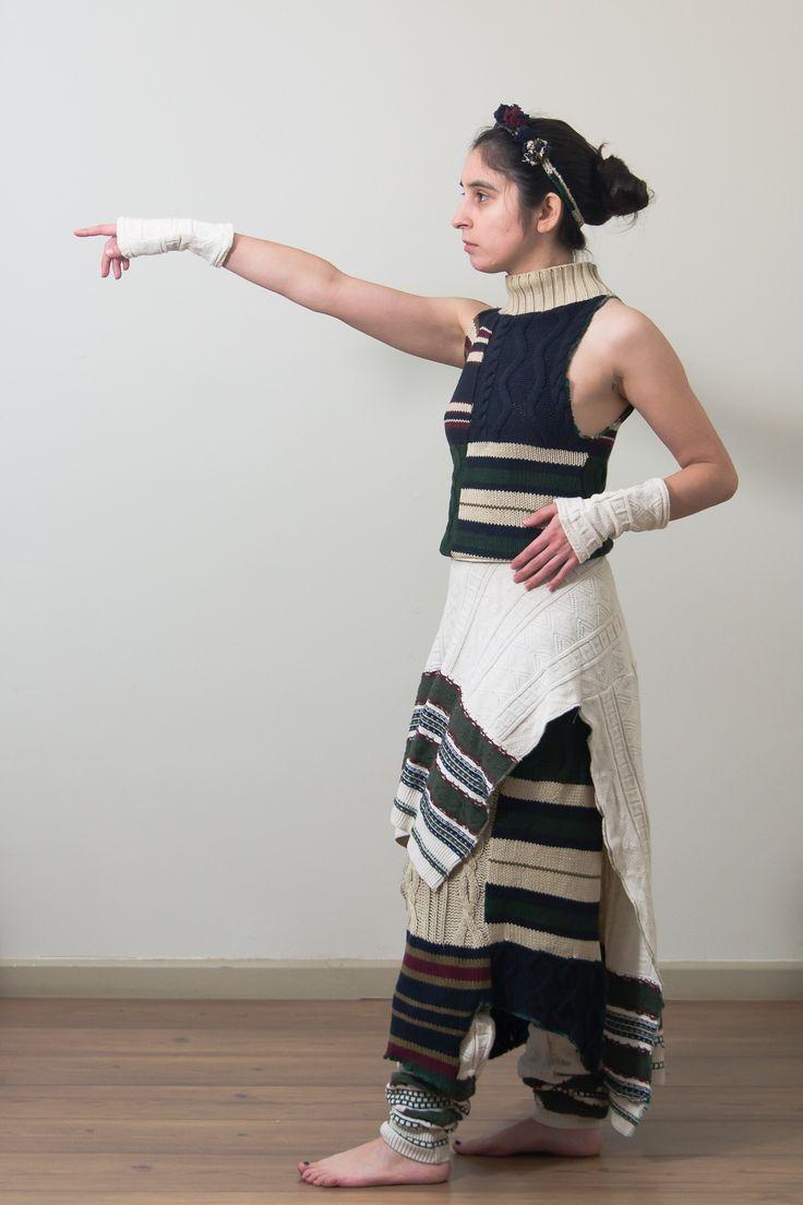 """Conjunto hecho de sweaters reciclados """"Nativa"""". Diseño: Fernanda Anguita Lablée"""