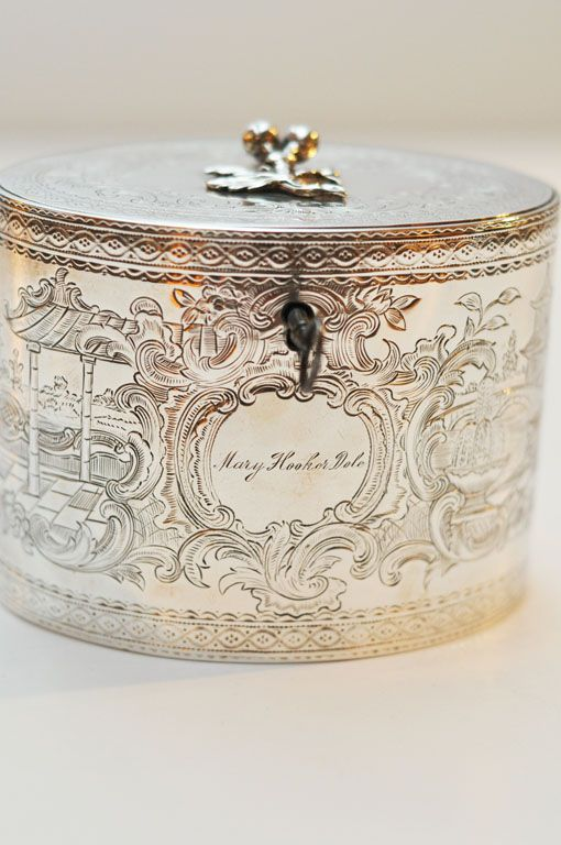 Antique George III Sterling Silver Tea Caddy, England,1777 by William Vincent.  Engraved 'Mary Hooker Dole'.