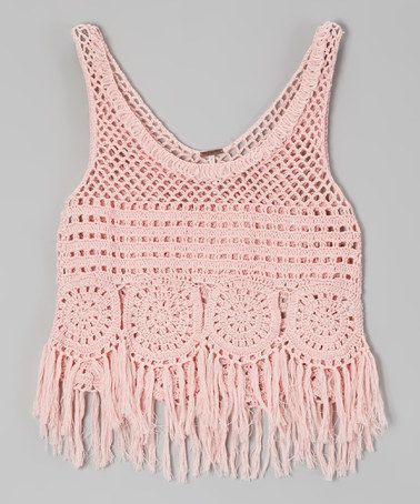 Crystal Rose Fringe Crocheted Tank by Poof!