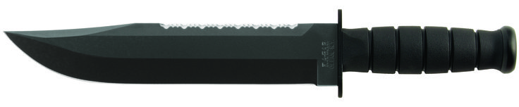 """KA-BAR 2211 BIG BROTHER offers an oval shaped non-slip Kraton G elastomer handle which provides excellent control even in wet conditions. Knife has an epoxy powder coated, Cro-Van (1095) steel blade with a [HRC 56-58] hardness rating and has an overall length of 14 1/8"""" BIG BROTHER features a full 9 5/16"""" straight edge blade that has been flat ground sharpened to 20 / 20 degrees with buff polished edges.  The top of the knife blade has been serrated sharpened. www.tomarskabars.com"""