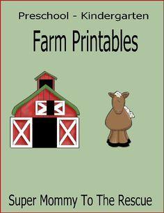 Free Kindergarten and Preschool Farm Printables