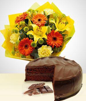 Flores a Uruguay Combo: Dulce Primavera + Torta
