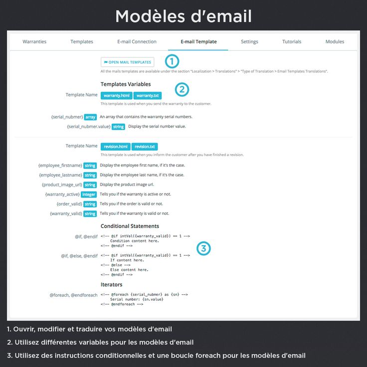 Modèles d'email. Ouvrir, modifier et traduire vos modèles d'email, utilisez différentes variables pour les modèles d'email, utilisez des instructions conditionnelles et une boucle foreach pour les modèles d'email.