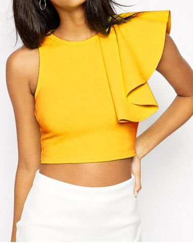 sleeveless flounced crop top