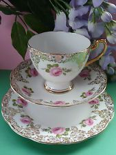 Vintage Roslyn Bone China Pink Roses & Gold,Tea Set Trio Cup, Saucer & Tea Plate