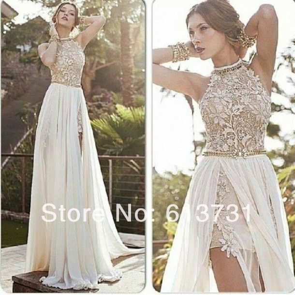 2014 New Arrival Sexy White Chiffon Beaded Appliques Lace Prom Dresses Long Halter Side Slit Spring Evening Party Gown
