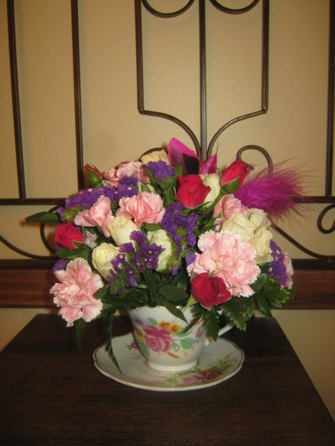 Secretary's Day arrangement in a teacup