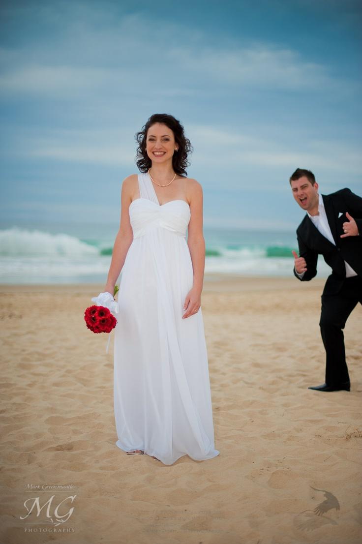 Groom photobomb, beach wedding, Brisbane, Sunshine Coast, Noosa, bride
