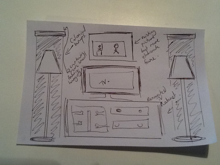 Plan for the tv wall - renovate old tv cabinet, add 2 colonial standing lights and 2 fabric pieces hanging behind. Re-frame the existing picture by tv - more ELABORATE