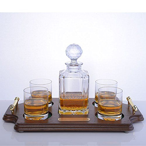 Crystalize Whiskey Decanter Set with Wood Tray