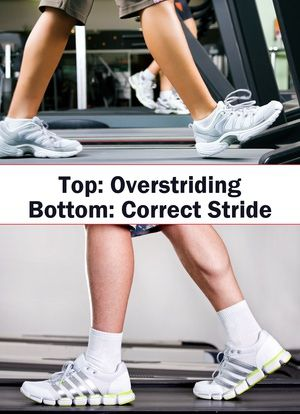 How to Take a Walking Stride: Top: Overstriding. Bottom: Correct Walking Stride