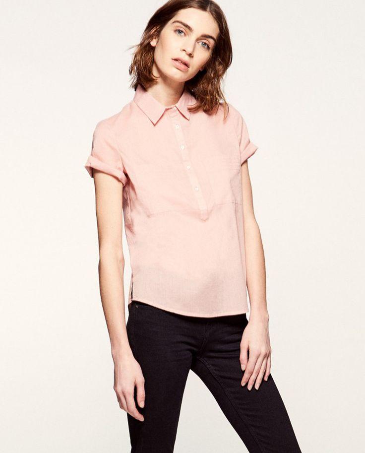 Camisa de mulher Sfera rosa com manga curta
