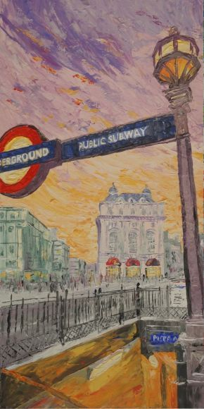 #LONDON #paletteknife painting 60x120x4 cm Large painting S041 OOAK #Piccadilly #decor #original big art ready to hang painting #acrylic on stretched #canvas wall #art by #artist Ksavera