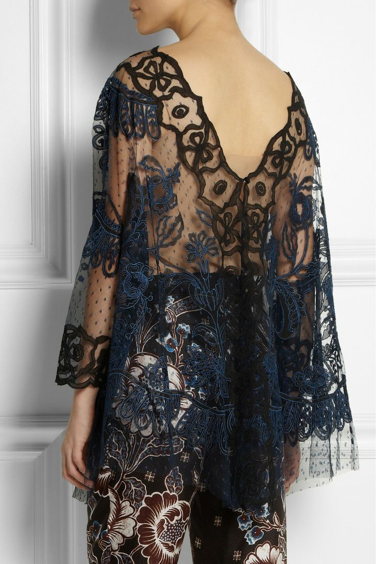 Biyan|Soleil reversible embroidered tulle top