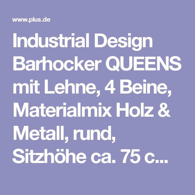 Industrial Design Barhocker QUEENS Mit Lehne, 4 Beine, Materialmix Holz U0026  Metall, Rund