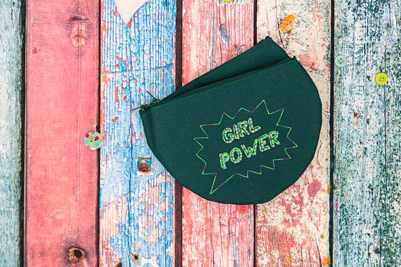 Girl Power Half Moon Pencil Pouch, Female Empowerment Cosmetic bag, Toiletry storage