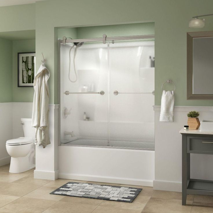 Delta Silverton 60 in. x 58-3/4 in. Semi-Frameless Contemporary Sliding Bathtub Door in Nickel with Droplet Glass