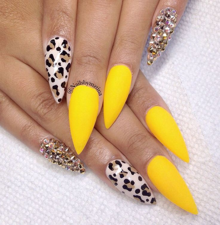 Yellow, gold glitter and leopard stilettos