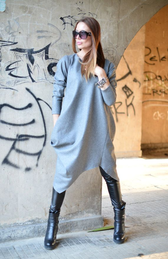 Casual Grey Cashmere dress Extravagant kaftan - maxi loose fit size - one size - XS,S,M,L,XL,2XL,3XL size important onle for sleeve 100% soft