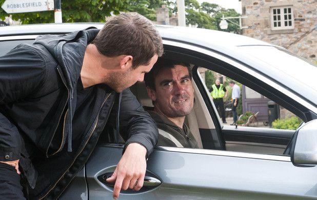 Aaron Livesy (Danny Miller) & Cain Dingle (Jeff Hordley) (August 2014)