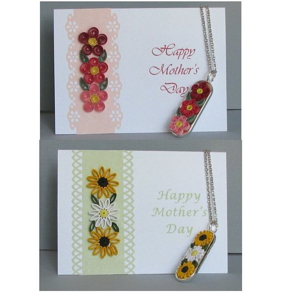 Collana fiori quilled e carta corrispondente per la festa della mamma
