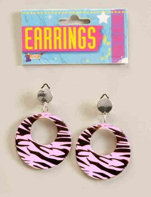 Pink 80s Zebra Earrings - Accessories? That's what 80s fashion is all about! Here, we have some totally radical Pink 80s Zebra earrings!   These totally tubular earrings are quite the fashion statement. They're pink with black zebra print clip-on earrings. They are made of plastic with metal clips. Since it's the 80s, they go with any outfit you want them to.  Perfect for your eighties outfit for an 80s party, Halloween, or just your own bodacious fashion look! #jewelry #yyc #costume