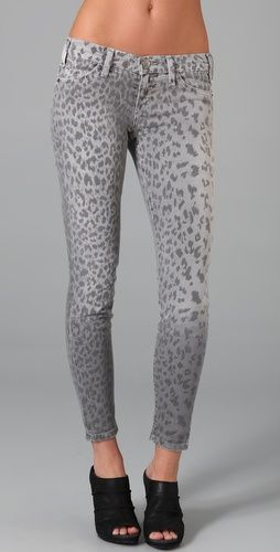 Current/Elliot The Stelleto Skinny Jeans in Grey Leopart $198